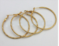 Free Shipping 10pairs Mix Style 24K Gold Plated Hoop Earrings For DIY Craft Jewelry 1x50mm EA8*