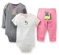 New arrival! wholesale carter's baby girl 3piece bodysuit &pants set, carter's ,100%cotton, 5sets/lot,free shipping