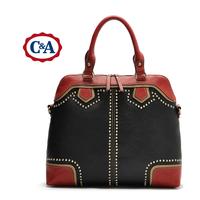 New Arrival 2014 Famous brand women handbag fashion color block rivet handbag large bag vintage women messenger bag shoulder bag