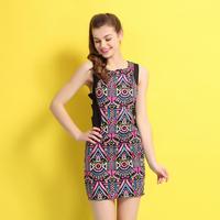 Personalized geometric vintage racerback slim one-piece dress