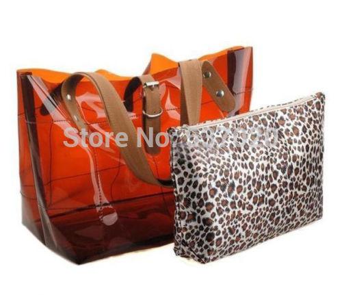 Free shipping Sweet Ladies Jelly Clear Transparent Bucket Shoulder Bag Beach Tote PVC Handbag(China (Mainland))