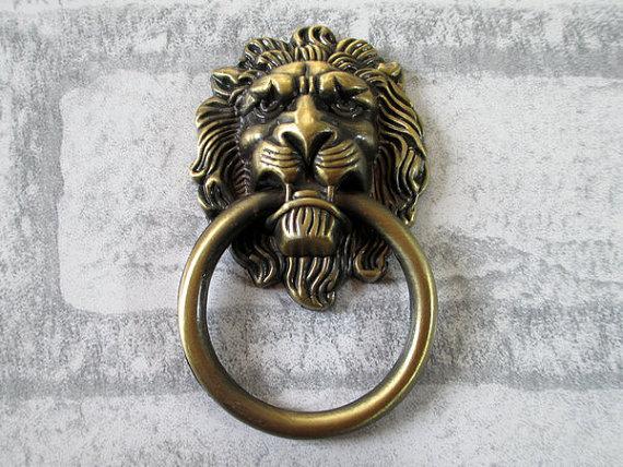Large lion drawer pull knobs handles dresser drop pulls rings antique bronze lion head door - Large lion head door knocker ...
