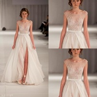 Exquisite A-line bridal dresses! Sexy scoop shiny beaded cap sleeves gown sexy high side slit beautiful chiffon wedding dresses