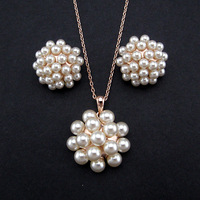 Unique Design Newness Genuine Rose Gold Plated Wedding Jewelry Pave Multi Real Pearl Earrings Necklace Set For Bride