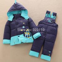 Kids Down coat Thickening Baby Down jacket Children Cold clothing set Boys/Girls Warm Outerwear 2014 Winter Parkas