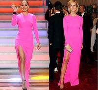 Jennifer Lopez High Side Slit Fushcia Jersey Jennifer Sexy Prom Dress With Long Sleeve