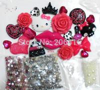 DIY Hot Pink Hello Kitty Set Cabochon Cherry Lip Rhinestone Resin Flatback Deco Kit for Phone Case Free Shipping Drop Shipping
