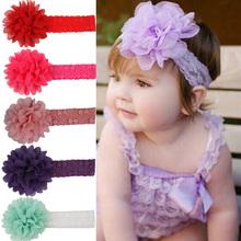 Baby Girls Cute Large Ruffle Flower Lace Chiffon Hairband Soft Elastic Headband 5 Colors Drop Shipping BB-093(China (Mainland))