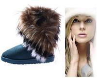2014 Autumn Winter Warm cheap shoes high long snow boots artificial fox rabbit fur leather tassel women's shoes free shipping