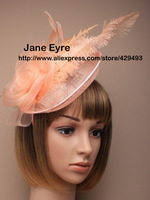 New arrive HOT sinamay fascinator in SPECIAL shape with feathers, TOP grade workmanship, peach colors