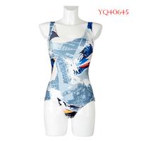 New Summer 2014 Women Swimwear Sexy One Piece Swimsuit High Waist Bathing Suit Scrawl Digital Printing YQ40645