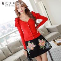 Skirts pink big doll 2014 Hitz wild flower print A swing skirt close female hip pockets