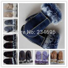 Free Shipping Retail!  pure sheepskin wool one piece fur child gloves Winter essential Warm Fur gloves for children(China (Mainland))