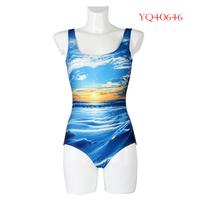 New Summer 2014 Women Swimwear Sexy One Piece Female Swimsuit High Waist Bathing Suit The Sunrise Digital Printing YQ40646
