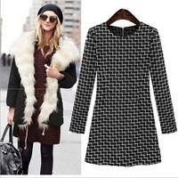 free shipping long-sleeved black dress with lattice full sleeved women slim dress