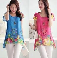 2014 summer new Korean ladies fashion cool short sleeve loose big yards was thin chiffon shirt printing fake two pieces