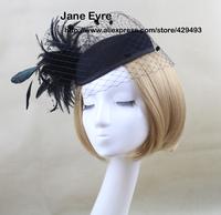Free Shipping feather spring and autumn winter stewardess cap fashion vintage fedoras woolen cap