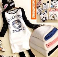 2014 Winter Women raglan-sleeved shirt plus thick velvet printing package hip T shirt long paragraph tricolor five mapWS1031