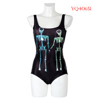 New Summer 2014 Women Swimwear Female One Piece Swimsuit Beach Wear Human Skeleton BLack Digital Printing Beach Dress YQ40651