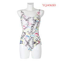 2014 Fashion Women Swimwear Female One Piece Swimsuit Colorful Letter Digital Printing Youth Beach Dress YQ40650