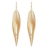 New Womens Jewelry 18K Gold Plated Multi Filigreework Circle Around Circle Drop Dangle Earrings Fashion Jewelry Gift