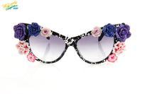 2014 purple elegant flower sunglasses women brand designer lenses fashion UV protection optical Aviator cat eyes sun glasses 824