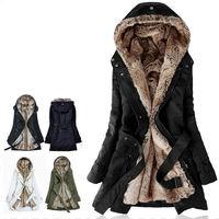Faux fur lining women's fur Hoodies Ladies coats winter warm long coat jacket cotton clothes thermal parkas Free Shipping LJ965
