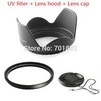 3in1 58mm 58 mm Flower Lens Hood +UV Filter +Lens Cap for Canon EOS 400D 550D 500D 600D 1100D Nikon D80 D50 D7000 D3100 DS DSLR