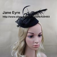 Free Shipping exaggerate feather stewardess cap fashion vintage fedoras woolen cap mini cap