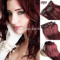 "20"" 70g 99J dark wine red 100% human hair clips in extension 7pcs full set"