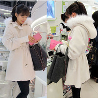 2014 Korean version of the Great East Gate Shopping quilted warm fur collar and long sections loose woolen coat woolen coat