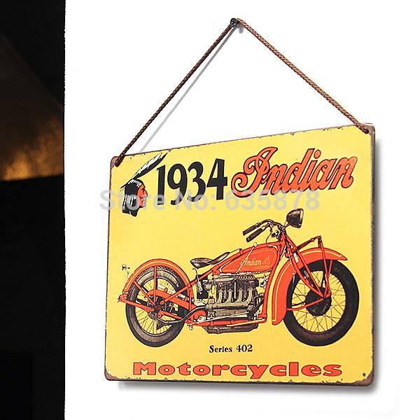 Decor Pub Bar Tavern Garage Tin Sheet Metal Sign 1934 Indian Vintage Picture Free Shipping(China (Mainland))