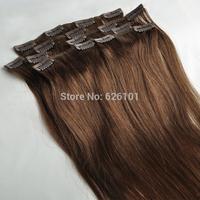 100% human hair clip in hair extension chestnut brown #6 20''70g 7pcs