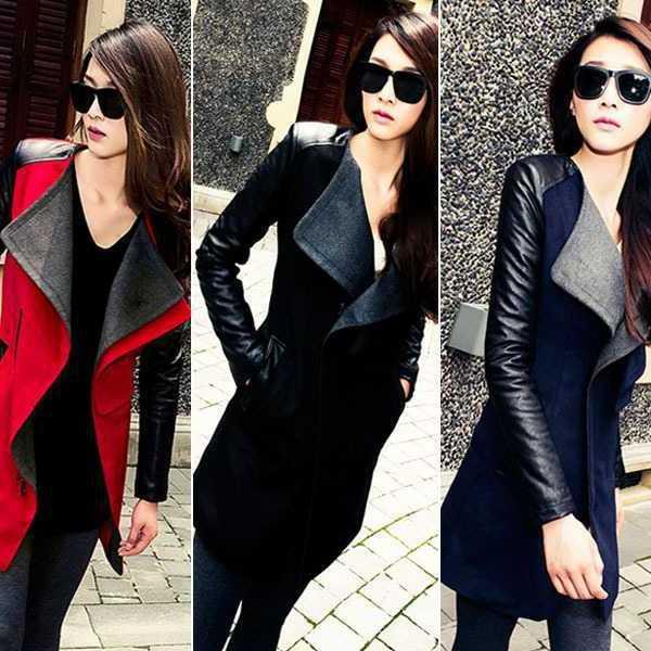 Plus Size Wholesale 2014 New Fashion Patchwork Womens Long Warm Wool PU Leather Sleeve Jacket Coat Windbreaker Free Shipping(China (Mainland))