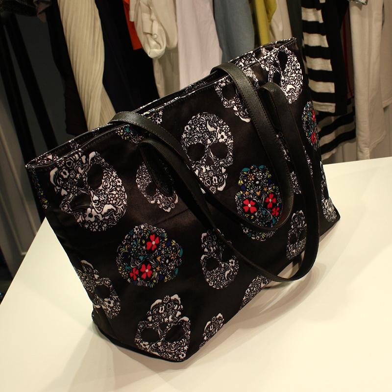 Free Shipping 2014 Women Vintage Ghost Head Designer Shoulder Tote bag Punk Skeleton Printing Skull Handbag Personality Satchel(China (Mainland))