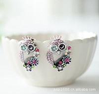 Delicate Owl Shape Colorful Earring Stud Earring Owl Jewelry