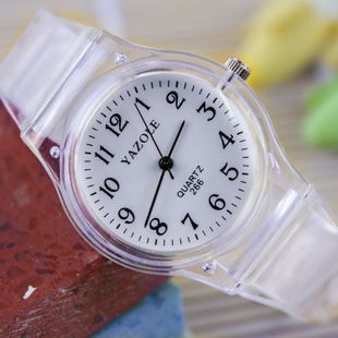 HOT SALE 2014Quartz transparent plastic watch fashion student fashion table for male and female student(China (Mainland))