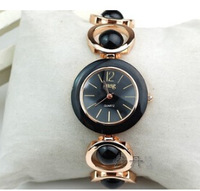 HOT free shipping elegant delicate watch round mirror gold steel bradde strap lady's wrist watch fashion women's bracelet watch