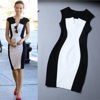 Women V-Neck Sleeveless Black White Patchwork Casual Bodycon Dress Plus Size Women Work Wear Dresses Vestido De Festa D385A0