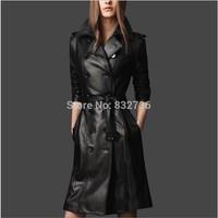 2014 Autumn Woman PU leather female black windbreaker Double Breasted long Locomotive leather coat plus size L XL XXL XXXL
