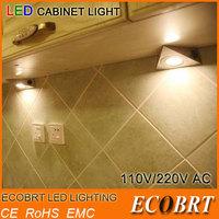 2014 New Cheap Triangle LED Under Cabinet light with a rocker switch 110V / 220V 1.2W Kitchen Under-Counter lights 2pcs/lot