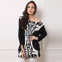 Rhinestone vintage cashmere sweater large size porcelain O-neck dress 2014 autumn and winter Europe and America new fashion
