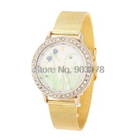 2014 New Fashion Dragonfly Pattern Watch Gold Quartz Alloy Women Dress Watch Golden Casual Watch Hours