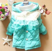 Baby Girls Winter Warm Coat Children Outerwear Jacket Hooded Lace Fur Decor Button Russian Style Girls Cute Coat Drop Ship K8029