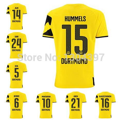 2014 2015 Borussia Dortmund Jersey Soccer 14 15 Reus Lewandowski Gundogan Hummels Sahin Blaszczykowski Aubameyang Football Shirt(China (Mainland))
