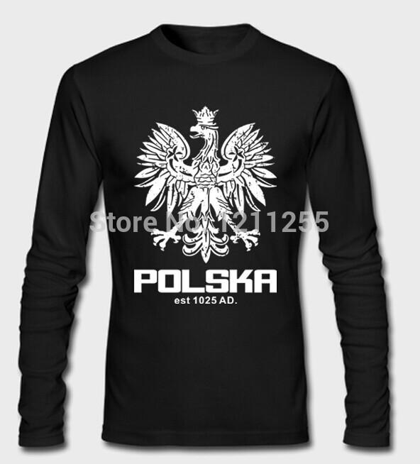 Men's T-Shirt Polska Polish Dance Soccer Poland Football T Shirt Long Sleeve 100% Cotton Printed Custom Long TShirt Size S~3XL(China (Mainland))