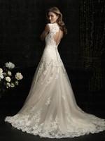E23 In stock bride romantic custom made lace wedding dress dresses trian bridal gown gowns plus size vestido de noiva 2014