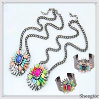 Wholesale Fashion Shourouk Style Jewelry set Crystal Necklaces pendants Chunky Bangles Bracelets women 2014 African Jewelry set