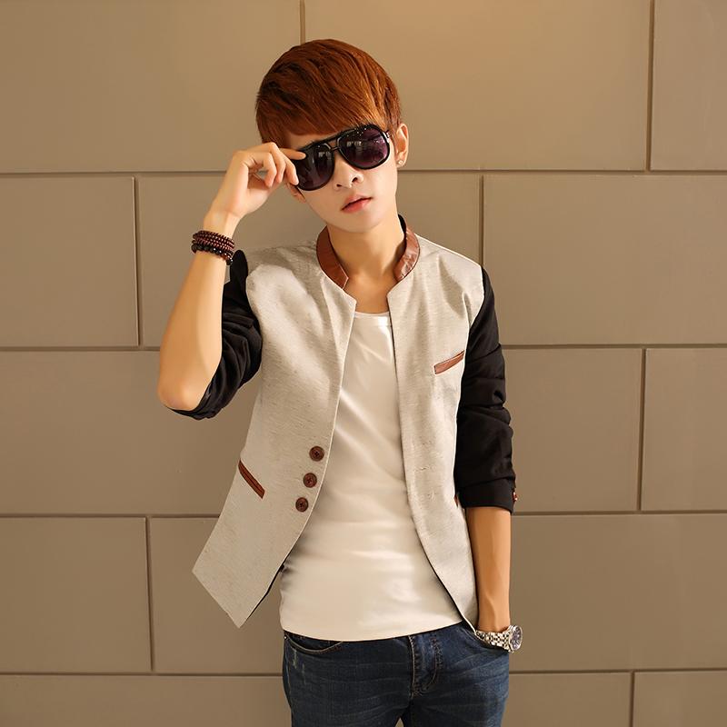 2014 spring slim stand collar color block decoration blazer male blazer men's clothing outerwear formal dress top(China (Mainland))