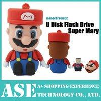 Wholesale cheap Cartoon mini Super Mario model 8GB 16GB 32GB USB Flash Drive Thumb/Car Pen drive 64gb Personality Gift Freeship